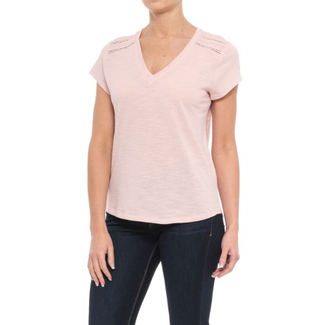 Specially made Ricrac Trim V-Neck Shirt - Short Sleeve (For Women) in Pink