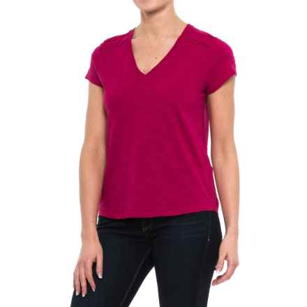 Specially made Ricrac Trim V-Neck Shirt - Short Sleeve (For Women) in Red - 2nds