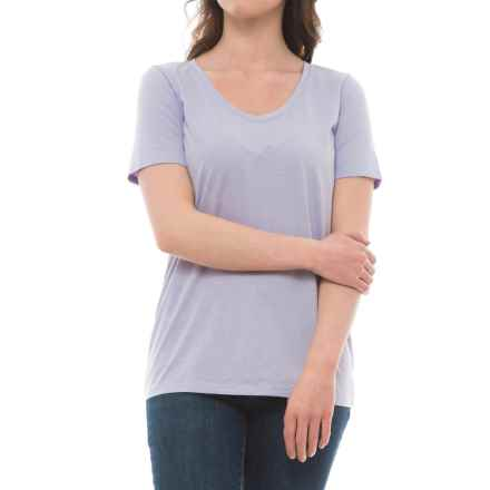 Specially made Rounded V-Neck Shirt - Short Sleeve (For Women) in Lilac - 2nds