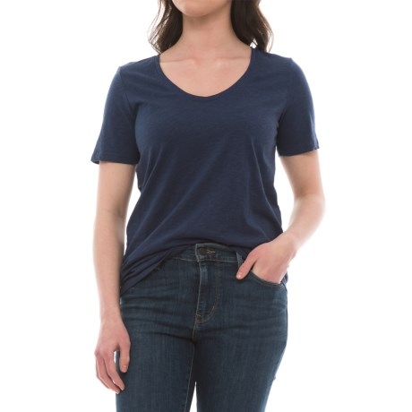 Specially made Rounded V-Neck Shirt - Short Sleeve (For Women) in Navy