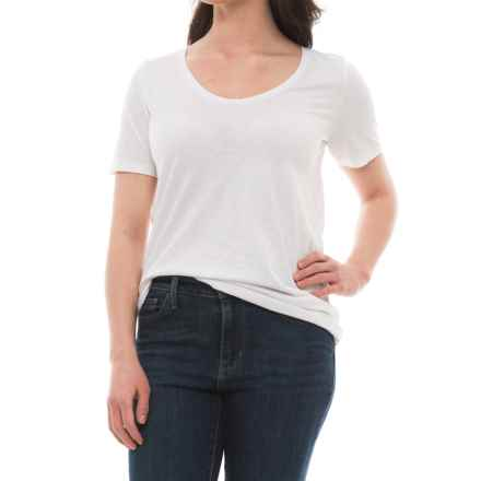 Specially made Rounded V-Neck Shirt - Short Sleeve (For Women) in White - 2nds