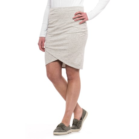 Specially made Ruched Cotton-Modal Skirt (For Women) in Grey