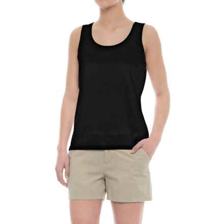 Specially made Scalloped Edge Tank Top - Cotton-Modal (For Women) in Black - 2nds