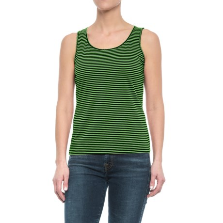 Specially made Scalloped Edge Tank Top - Cotton-Modal (For Women) in Lime Stripe