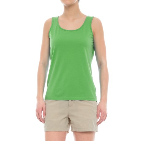 Specially made Scalloped Edge Tank Top - Cotton-Modal (For Women) in Lime