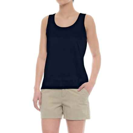 Specially made Scalloped Edge Tank Top - Cotton-Modal (For Women) in Navy - 2nds