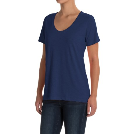 Specially made Scoop Neck T-Shirt - Short Sleeve (For Women) in Navy