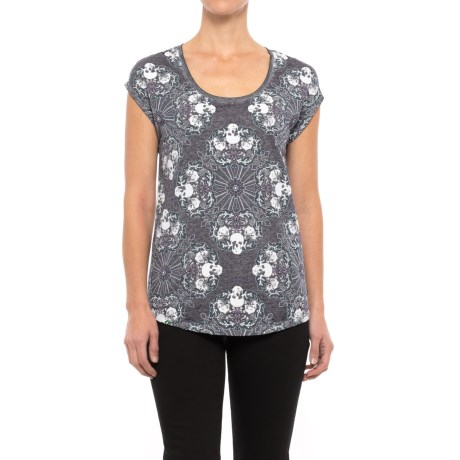 Specially made Skull Print High-Low Shirt - Short Sleeve (For Women) in Grey Skull Print