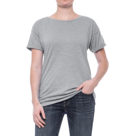 Specially made Slub Knit Cuffed Sleeve Shirt - Cotton-Modal, Short Sleeve (For Women) in Grey