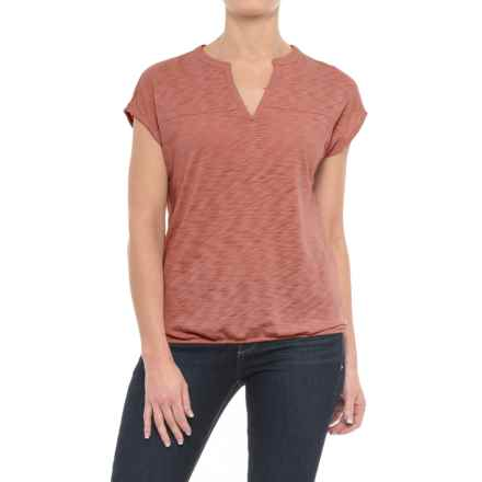 Specially made Slub-Knit Drape Shirt - Short Sleeve (For Women) in Brown - 2nds