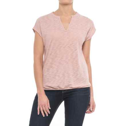 Specially made Slub-Knit Drape Shirt - Short Sleeve (For Women) in Pink - 2nds