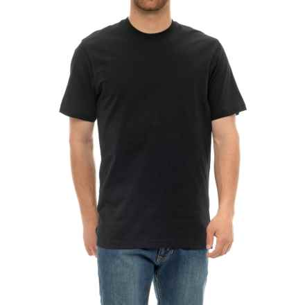 Specially made Solid Cotton T-Shirt - Short Sleeve (For Men) in Black - Closeouts