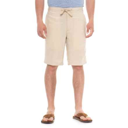 Specially made Solid Drawstring Shorts (For Men) in Natural Linen - Overstock