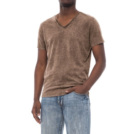 Specially made Solid Garment-Washed T-Shirt - V-Neck, Short Sleeve (For Men) in Brown