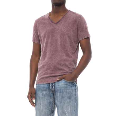 Specially made Solid Garment-Washed T-Shirt - V-Neck, Short Sleeve (For Men) in Plum - 2nds