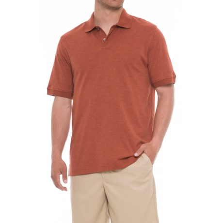 Specially made Solid Heather Polo Shirt - Short Sleeve (For Men) in Rust