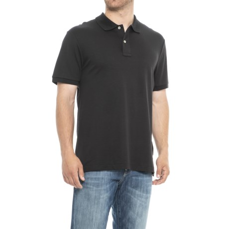 Specially made Solid Knit Polo Shirt - Short Sleeve (For Men) in Black