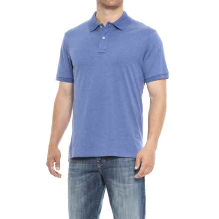 Specially made Solid Knit Polo Shirt - Short Sleeve (For Men) in Blue - Closeouts
