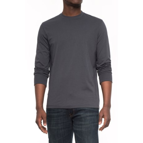 Specially made Solid Knit T-Shirt - Long Sleeve (For Men) in Dark Grey