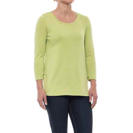 Specially made Solid Knit Tunic Shirt - Pima Cotton, 3/4 Sleeve (For Women) in Lime - 2nds