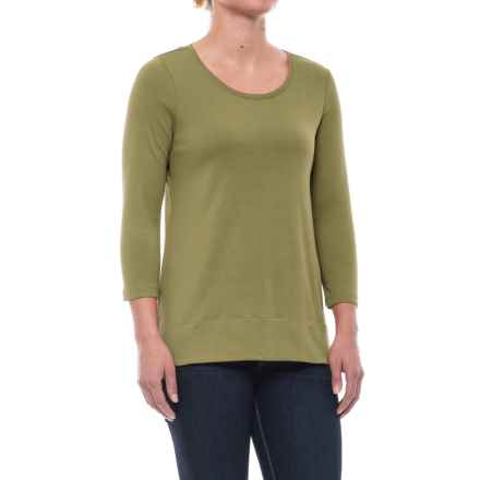 Specially made Solid Knit Tunic Shirt - Pima Cotton, 3/4 Sleeve (For Women) in Olive - 2nds