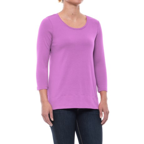 Specially made Solid Knit Tunic Shirt - Pima Cotton, 3/4 Sleeve (For Women) in Purple