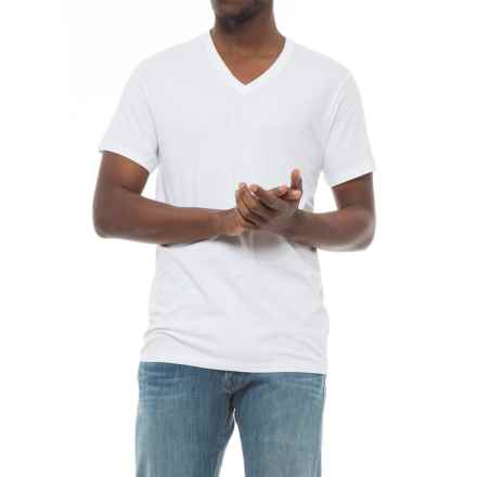 Specially made Solid V-Neck T-Shirt - Short Sleeve (For Men) in White - 2nds