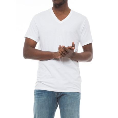 Specially made Solid V-Neck T-Shirt - Short Sleeve (For Men) in White