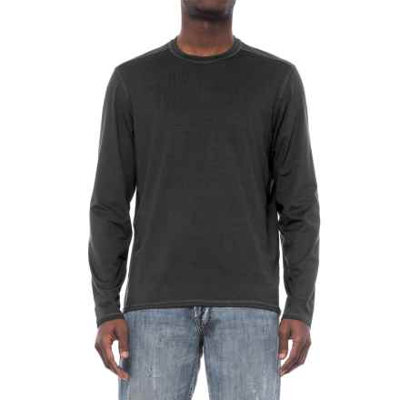 Specially made Stretch Crew Neck T-Shirt - Long Sleeve (For Men) in Black - 2nds