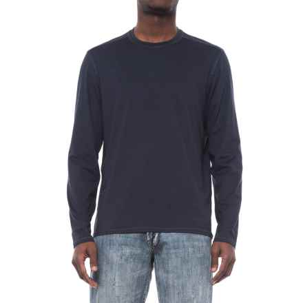 Specially made Stretch Crew Neck T-Shirt - Long Sleeve (For Men) in Navy - 2nds