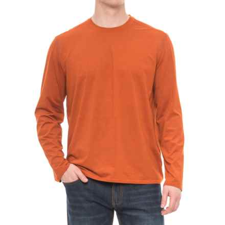 Specially made Stretch Crew Neck T-Shirt - Long Sleeve (For Men) in Orange - 2nds