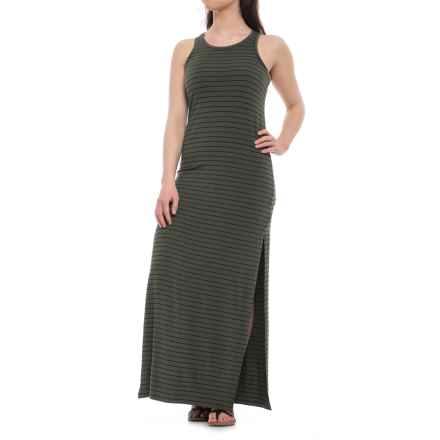 Specially made Stretch-Rayon Knit Maxi Dress - Sleeveless (For Women) in Olive/Black - 2nds