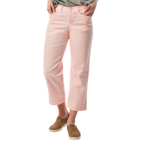 Specially made Stretch Twill Capris - Mid Rise (For Women) in Pink