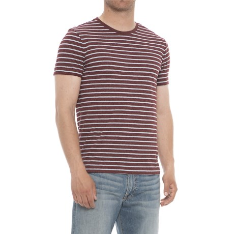 Specially made Striped Crew Neck T-Shirt - Short Sleeve (For Men) in Maroon/Light Blue