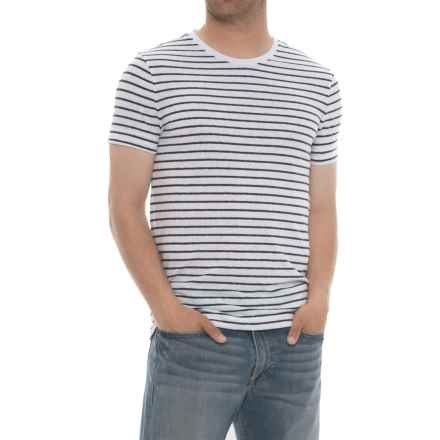Specially made Striped Crew Neck T-Shirt - Short Sleeve (For Men) in White/Black - 2nds