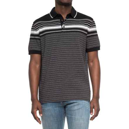 Specially made Striped Knit Polo Shirt - Short Sleeve (For Men) in Black/Grey Heathers/White - Closeouts