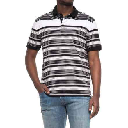 Specially made Striped Knit Polo Shirt - Short Sleeve (For Men) in Black/Grey/White - Closeouts