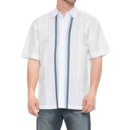 Specially made Striped Linen-Cotton Shirt - Short Sleeve (For Men) in White/Blue Stripe - 2nds