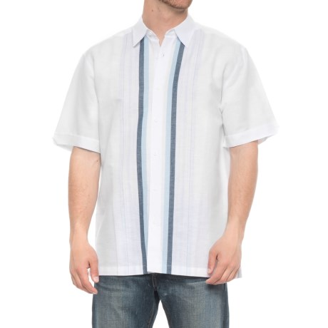 Specially made Striped Linen-Cotton Shirt - Short Sleeve (For Men) in White/Blue Stripe