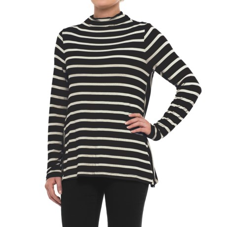 Specially made Striped Mock Neck Shirt - Long Sleeve (For Women) in Black