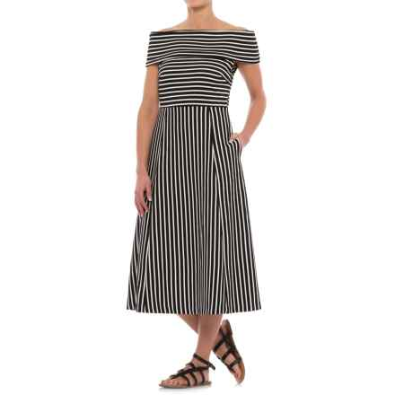 Specially made Striped Off-the-Shoulder Dress - Sleeveless (For Women) in Black Stripe - 2nds