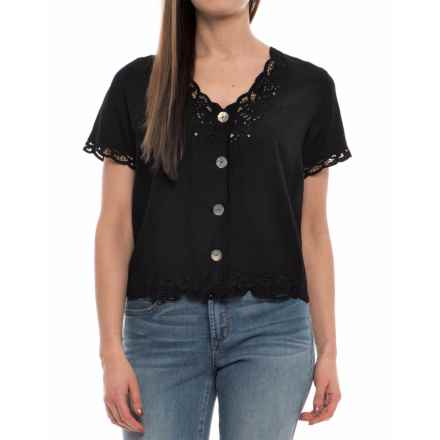 Specially made Sweetwater Lace Shirt - Rayon, Short Sleeve (For Women) in Black - 2nds