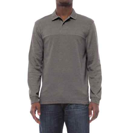Specially made Textured Polo Shirt - Long Sleeve (For Men) in Grey - 2nds
