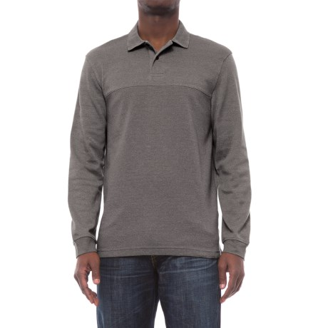 Specially made Textured Polo Shirt - Long Sleeve (For Men) in Grey
