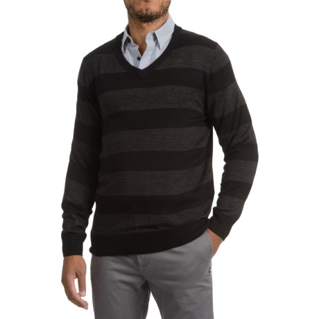 Specially made Textured V-Neck Sweater (For Men) in Black/Fine Grey