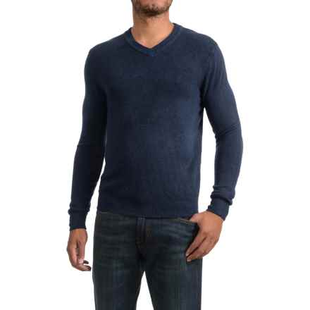 Specially made Textured V-Neck Sweater (For Men) in Dark Blue - 2nds