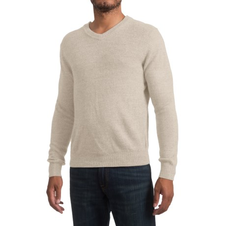 Specially made Textured V-Neck Sweater (For Men) in Khaki