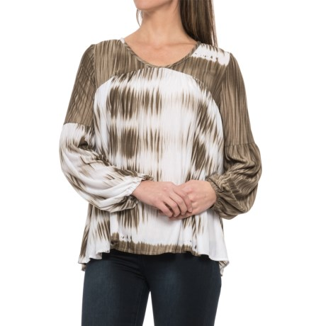 Specially made Tie-Dye Stretch Woven Shirt - Long Sleeve (For Women) in Olive/White
