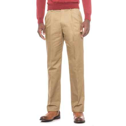 Specially made Traditional Fit Cotton Pleated Pants (For Men) in Tan - Closeouts