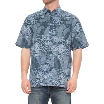 Specially made Tropical Print Linen-Blend Shirt - Short Sleeve (For Men) in Moonlight Ocean - 2nds